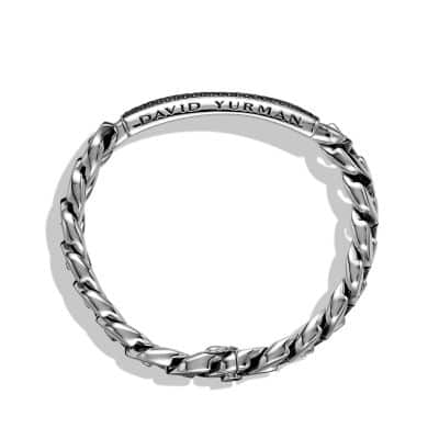 Pavé Curb Chain ID Bracelet with Black Diamonds