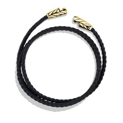 Chevron Triple-Wrap Bracelet in Black Leather and 18K Gold