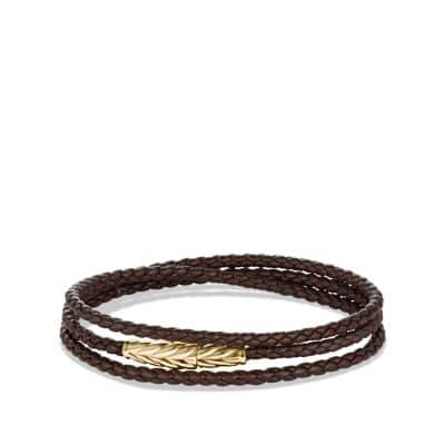 Chevron Triple-Wrap Bracelet in Brown Leather and Gold