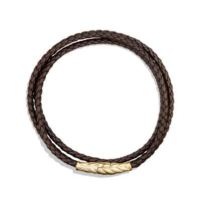 Chevron Triple-Wrap Bracelet in Brown Leather and 18K Gold