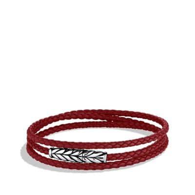 Chevron Triple-Wrap Bracelet in Red
