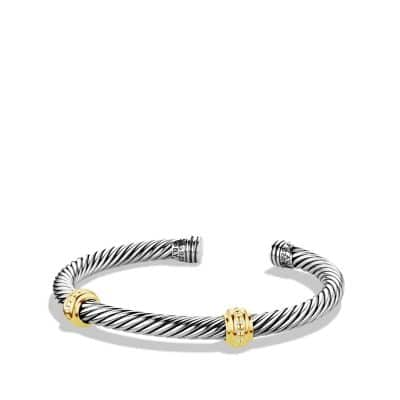 Cable Classics Two-Station Bracelet with Gold