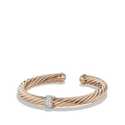 Cable Classics Bracelet with Diamonds in 18K Rose Gold, 7mm