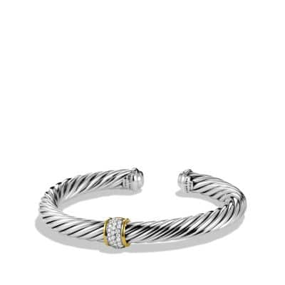 Cable Classics Bracelet with Diamonds and 18K Gold, 7mm thumbnail