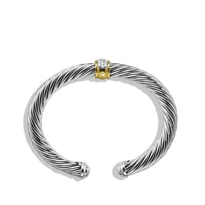 Cable Classics Bracelet with Diamonds and Gold, 7mm