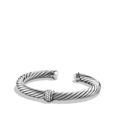 Cable Classics Bracelet with Diamonds and 18K White Gold, 7mm