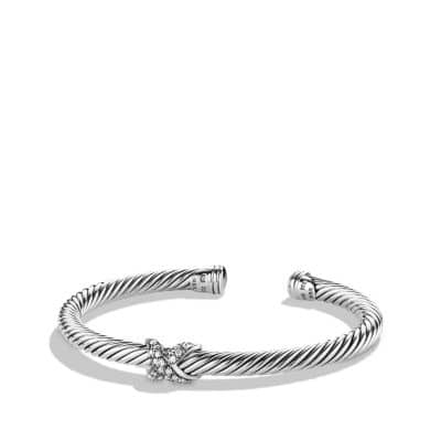 X Bracelet with Diamonds and White Gold