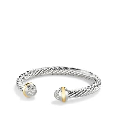 Cable Classics Bracelet with Diamonds and 18K Gold, 7mm