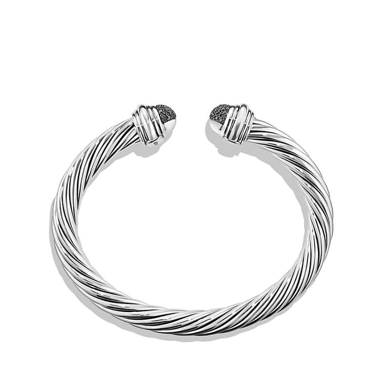 Cable Classic Bracelet with Black Diamonds, 7mm