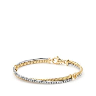 Crossover Bracelet with Diamonds in 18K Gold and 18K White Gold
