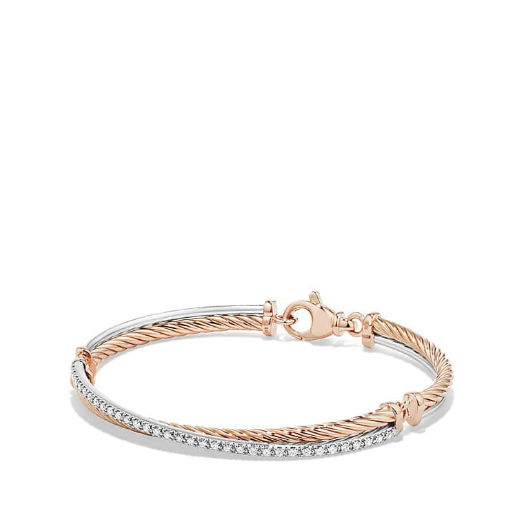 Crossover Bracelet with Diamonds in 18K Rose Gold