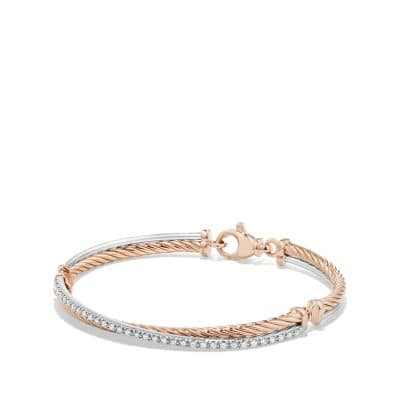Crossover Bracelet with Diamonds in 18K Rose Gold thumbnail