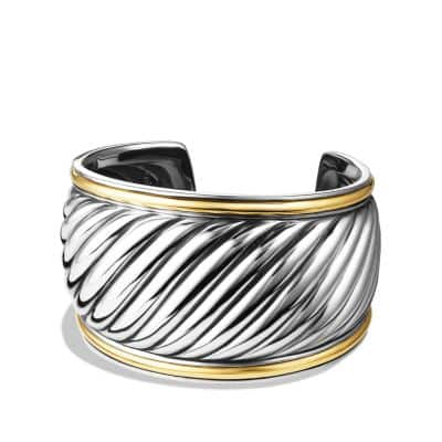 Sculpted Cable Cuff Bracelet with 18K Gold, 41mm