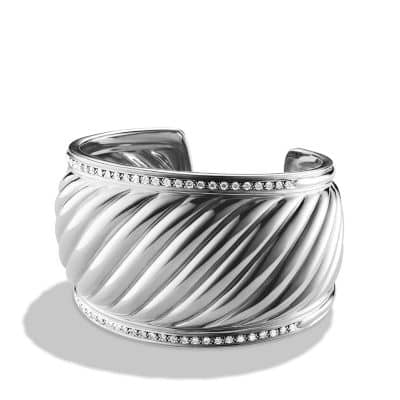 Sculpted Cable Cuff Bracelet with Diamonds