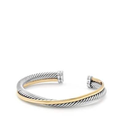 Crossover Cuff Bracelet with 18K Gold, 5mm