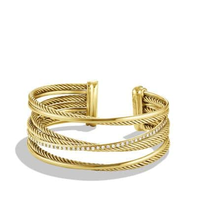 Crossover Four-Row Cuff Bracelet with Diamonds in 18K Gold, 23mm thumbnail