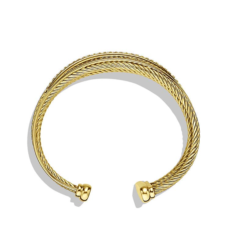 Crossover Four-Row Cuff Bracelet with Diamonds in 18K Gold, 23mm