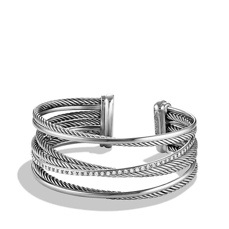 Crossover Four-Row Cuff Bracelet with Diamonds, 23mm