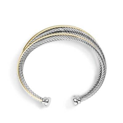 Crossover Four-Row Cuff Bracelet with Gold