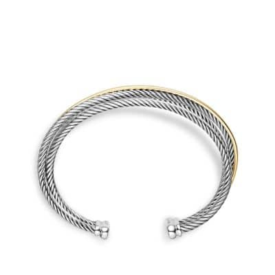 Crossover Three-Row Cuff Bracelet with 18K Gold, 18mm