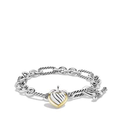 Cable Heart Charm Bracelet with Gold
