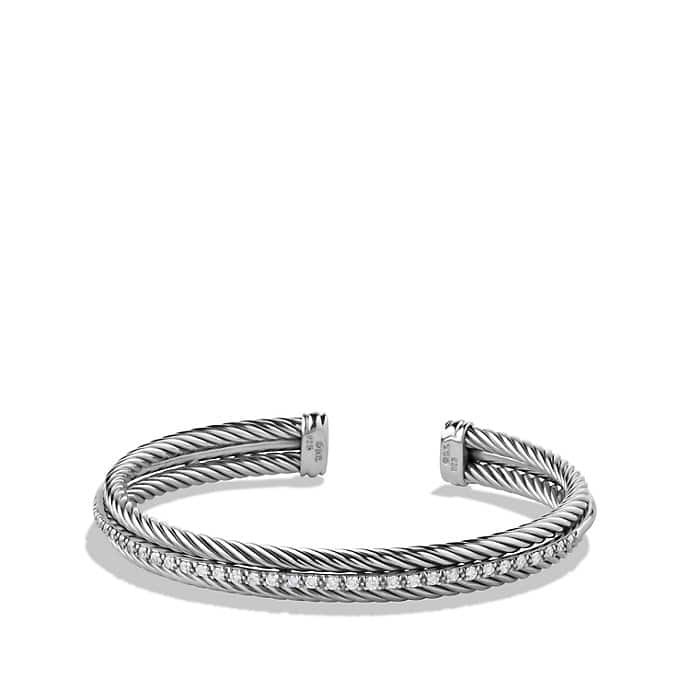 Cable Classics Two-Row Cuff Bracelet with Diamonds