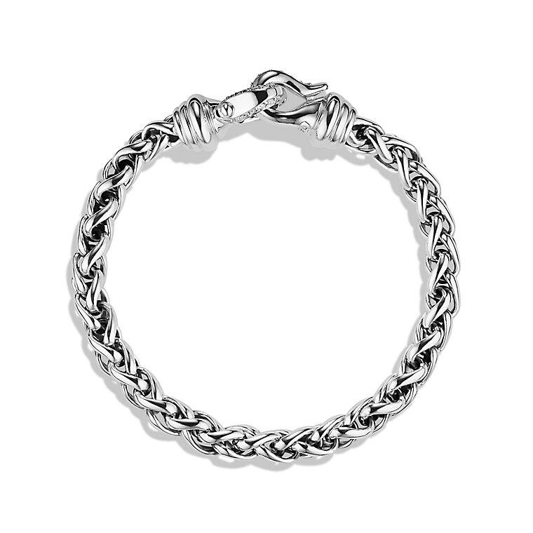 Cable Buckle Wheat Chain Bracelet with Diamonds