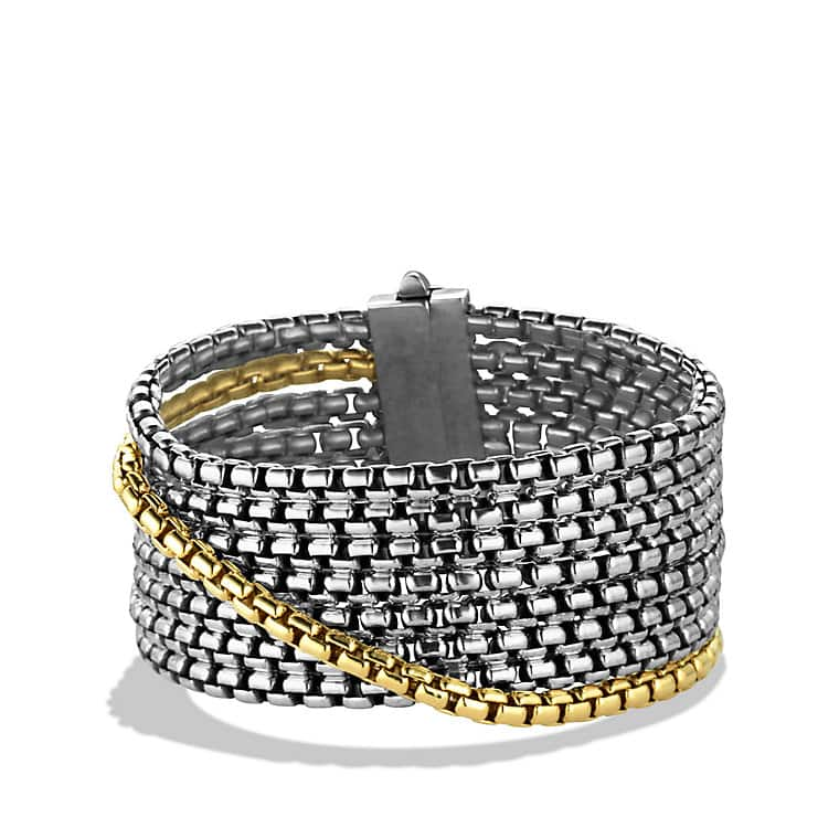 Box Chain Eight-Row Bracelet with 18K Gold, 32mm