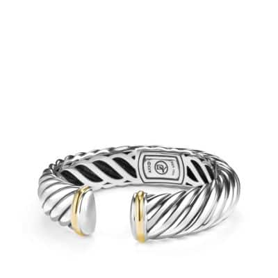 Sculpted Cable Bracelet with an accent of 18K Gold, 15mm