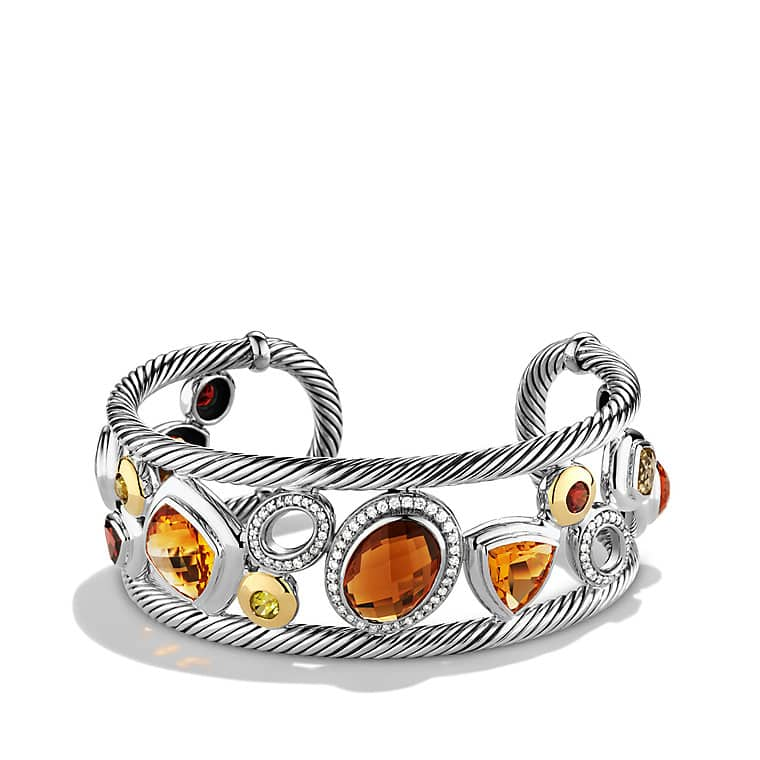 Mosaic Cuff Bracelet with Citrine, Diamonds, and Gold