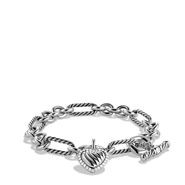 Cable Heart Charm Bracelet with Diamonds