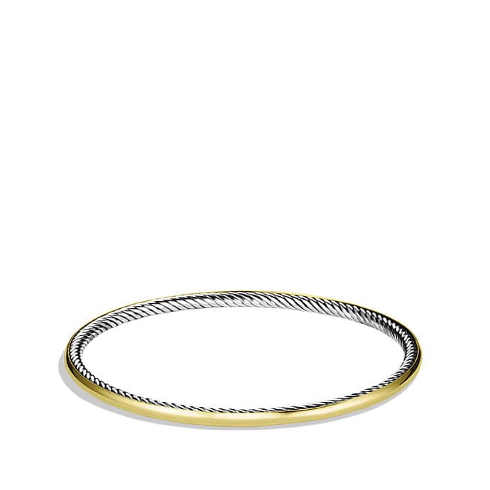 Cable Inside Bangle with Gold