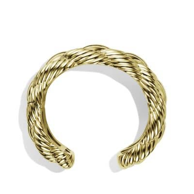 Sculpted Cable Large Woven Cuff in 18K Gold, 28mm