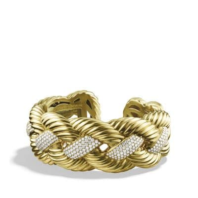 Sculpted Cable Wide Cuff Bracelet with Diamonds in 18K Gold, 28mm