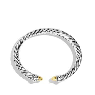 Sculpted Cable Bracelet with 18K Gold, 5mm