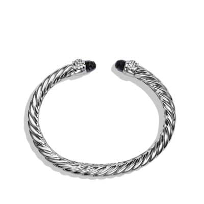 Sculpted Cable Bracelet with Black Onyx and Diamonds, 5mm