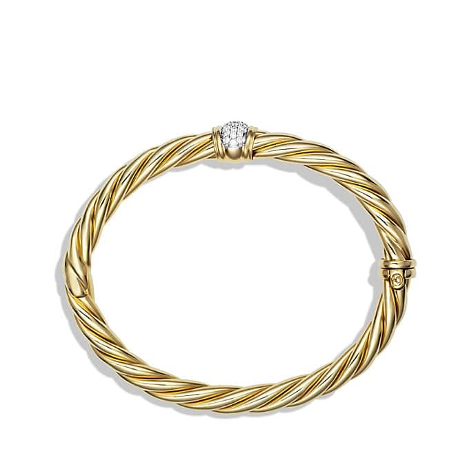 Sculpted Cable Bracelet with Diamonds in Gold