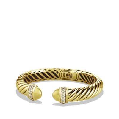 Sculpted Cable Bracelet with Diamonds in 18K Gold, 5mm