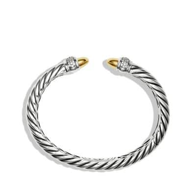 Sculpted Cable Bracelet with Diamonds and 18K Gold, 5mm