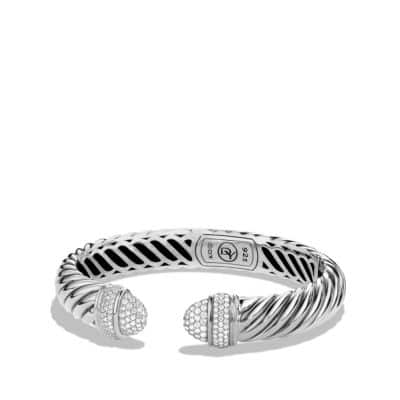 Sculpted Cable Bracelet with Diamonds, 5mm