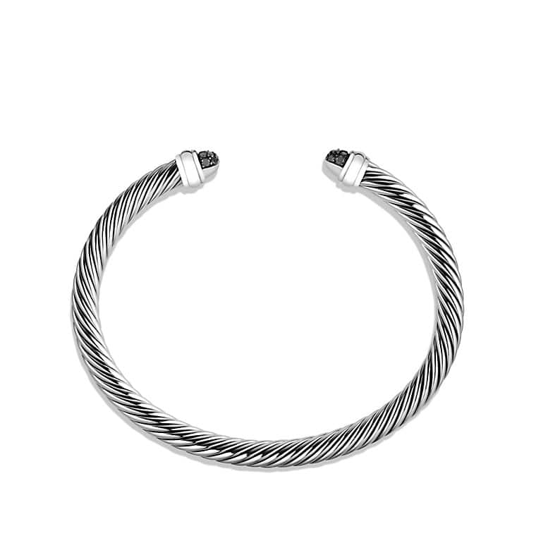 Cable Classic Bracelet with Black Diamonds, 5mm