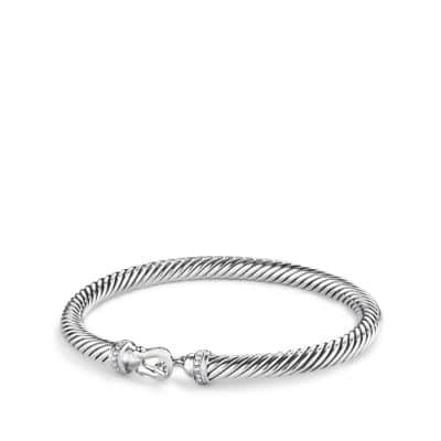 Cable Buckle Bracelet with Diamonds, 5mm