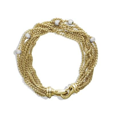 Eight-Row Chain Bracelet with Diamonds in 18K Gold, 10mm