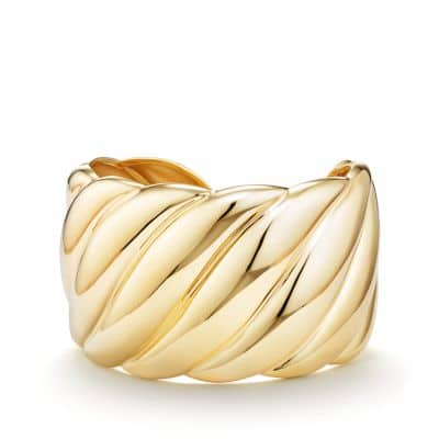 Sculpted Cable Wide Cuff Bracelet in Yellow Gold