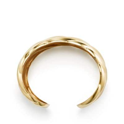 Sculpted Cable Wide Cuff Bracelet in 18K Yellow Gold, 40mm