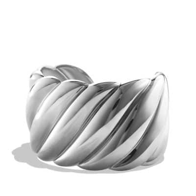Sculpted Cable Wide Cuff Bracelet, 40mm