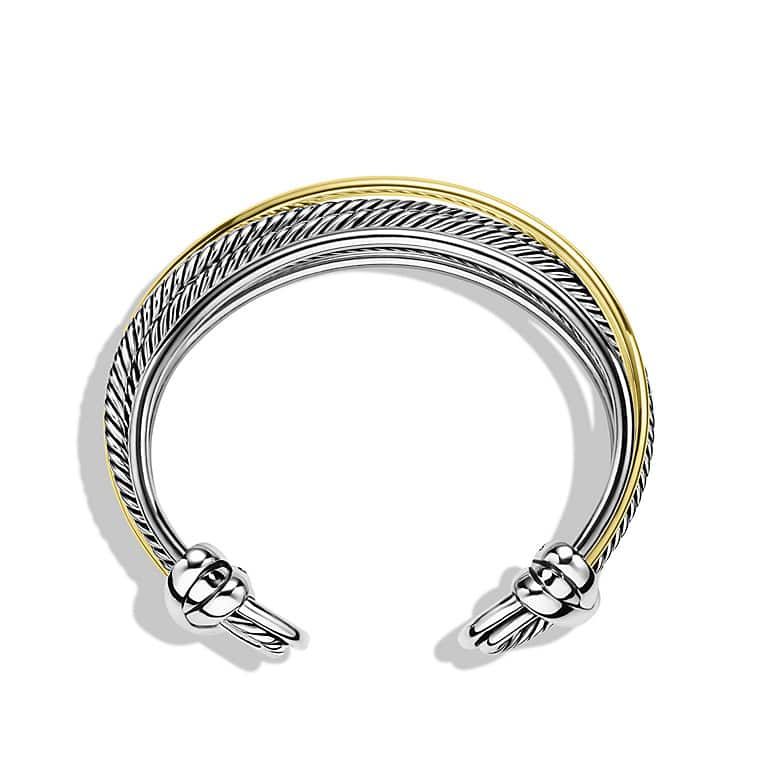 Crossover Narrow Cuff Bracelet with Gold