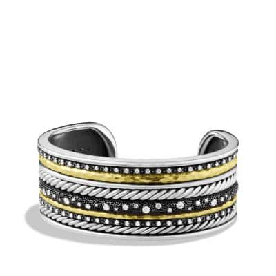 Midnight Mélange Cuff Bracelet with Diamonds and Gold