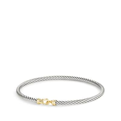 Cable Collectibles Buckle Bangle Bracelet with 18K Gold, 3 mm