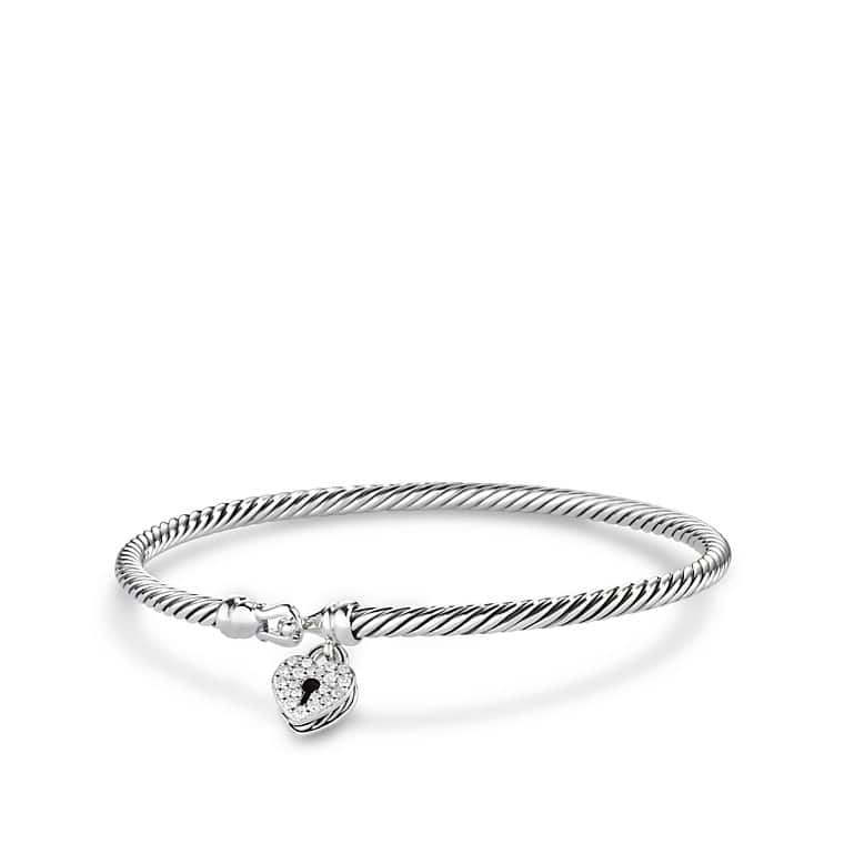 Cable Collectibles Heart Lock Bracelet with Diamonds
